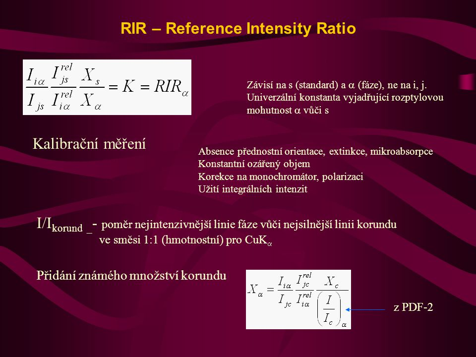 RIR – Reference Intensity Ratio