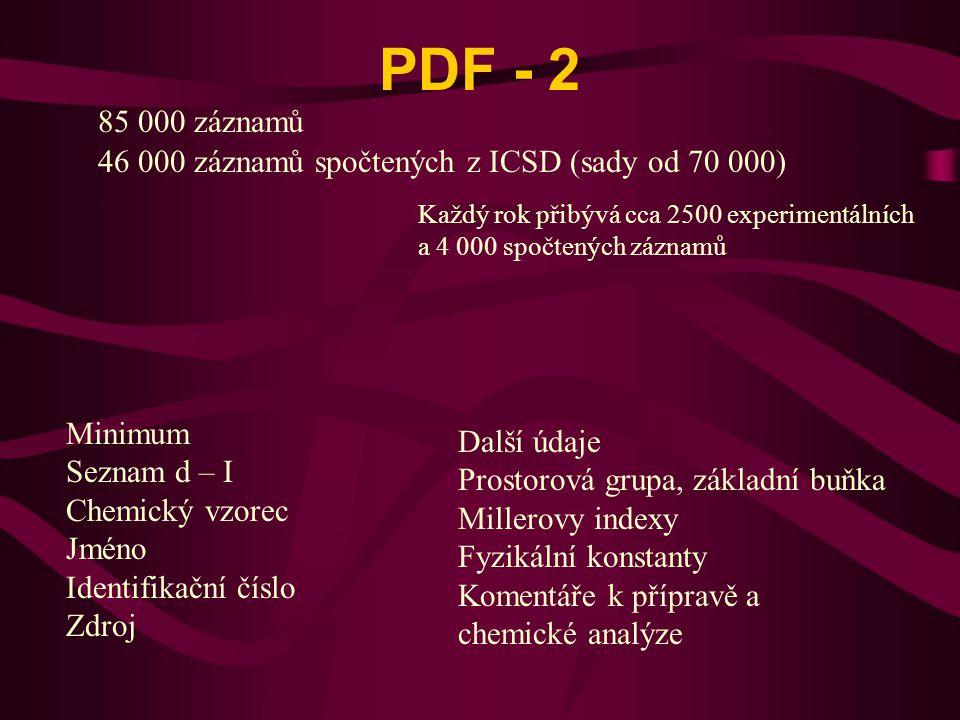 PDF - 2 85 000 záznamů. 46 000 záznamů spočtených z ICSD (sady od 70 000) Každý rok přibývá cca 2500 experimentálních.