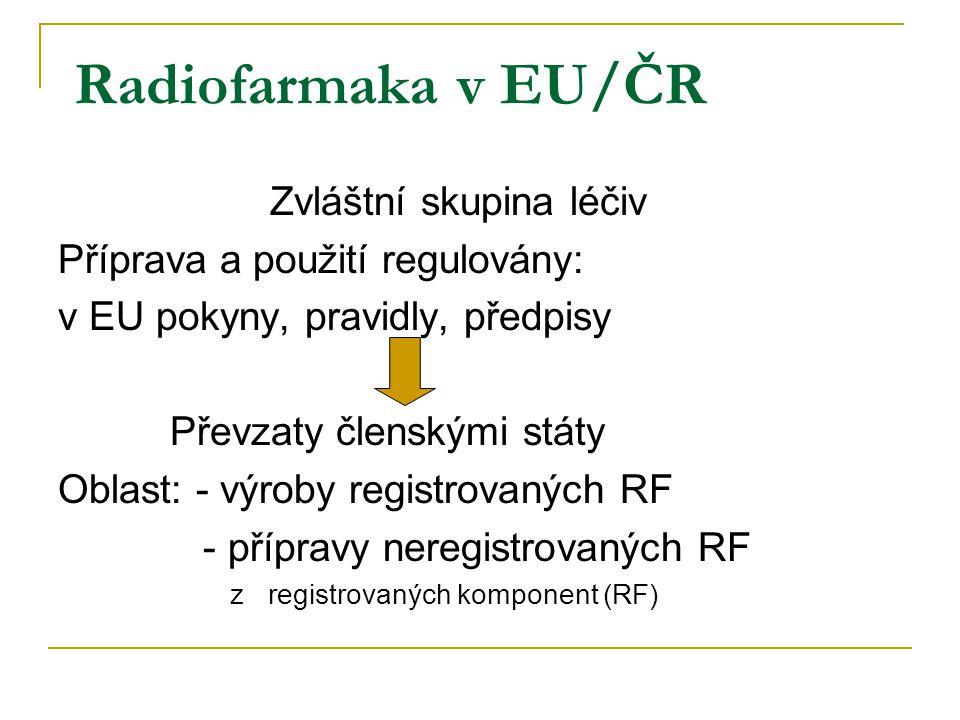 Radiofarmaka v EU/ČR Zvláštní skupina léčiv