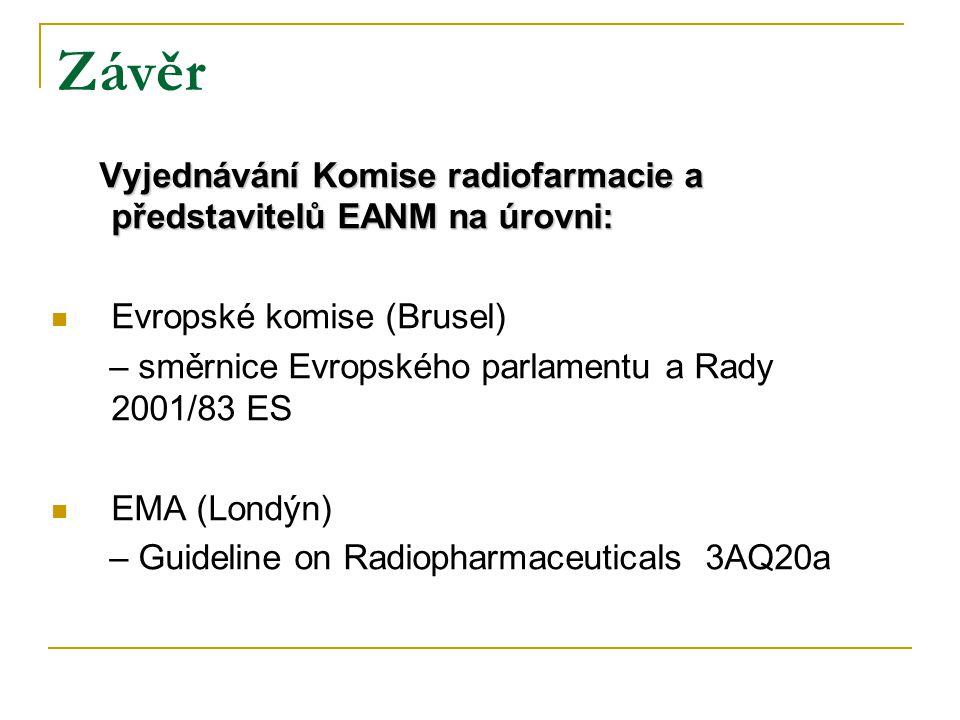 Závěr Vyjednávání Komise radiofarmacie a představitelů EANM na úrovni: