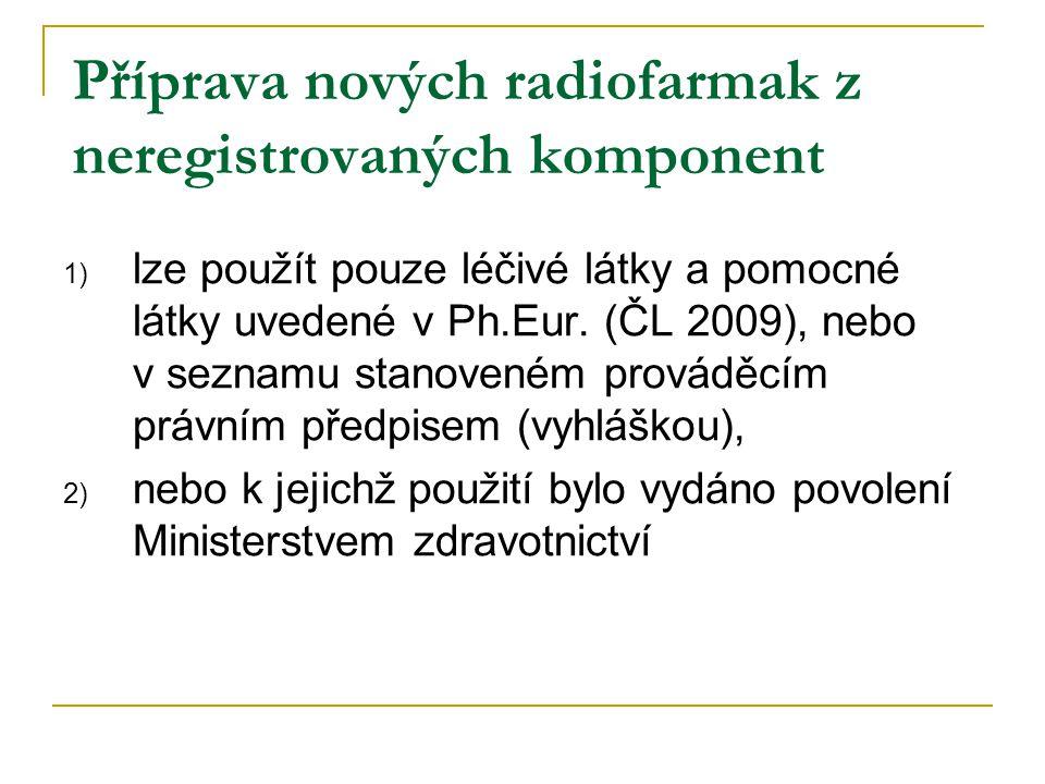 Příprava nových radiofarmak z neregistrovaných komponent