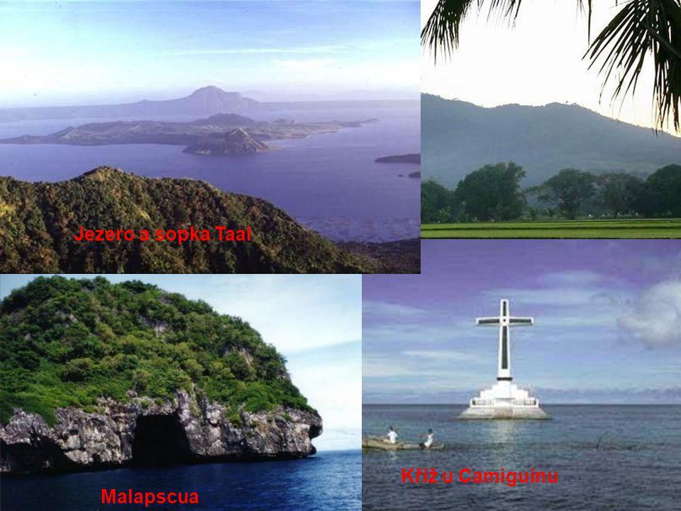 Jezero a sopka Taal Hora Samat Kříž u Camiguinu Malapscua