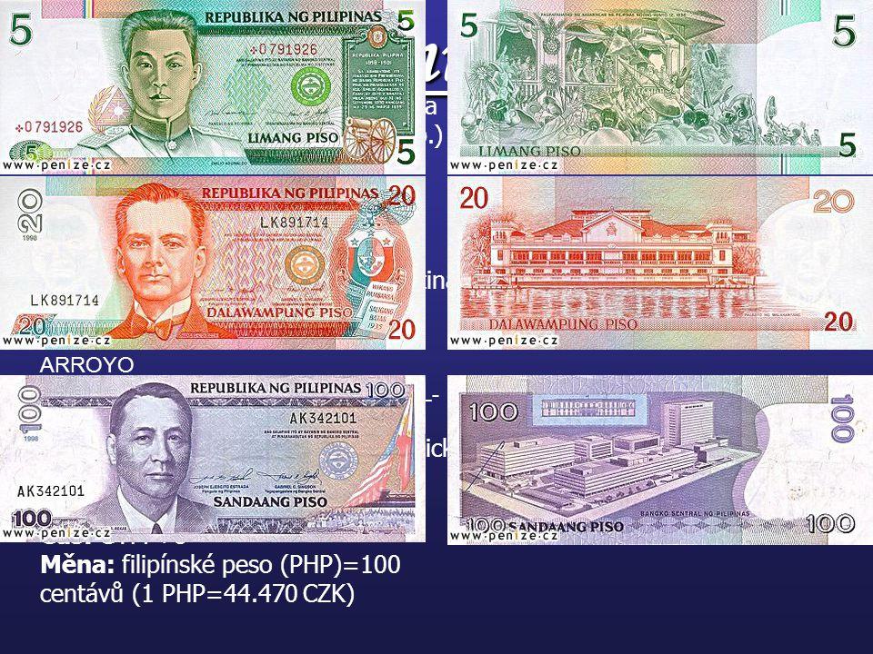Základní údaje: Oficiální název: Filipínská republika Hlavní město: Manila(1 895 mil.ob.) Rozloha: 300 076 km2 (2/3 Luzon+Mindanao)