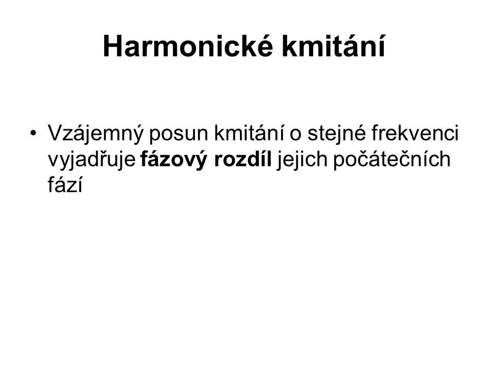 Harmonické kmitání Vzájemný posun kmitání o stejné frekvenci vyjadřuje fázový rozdíl jejich počátečních fází.