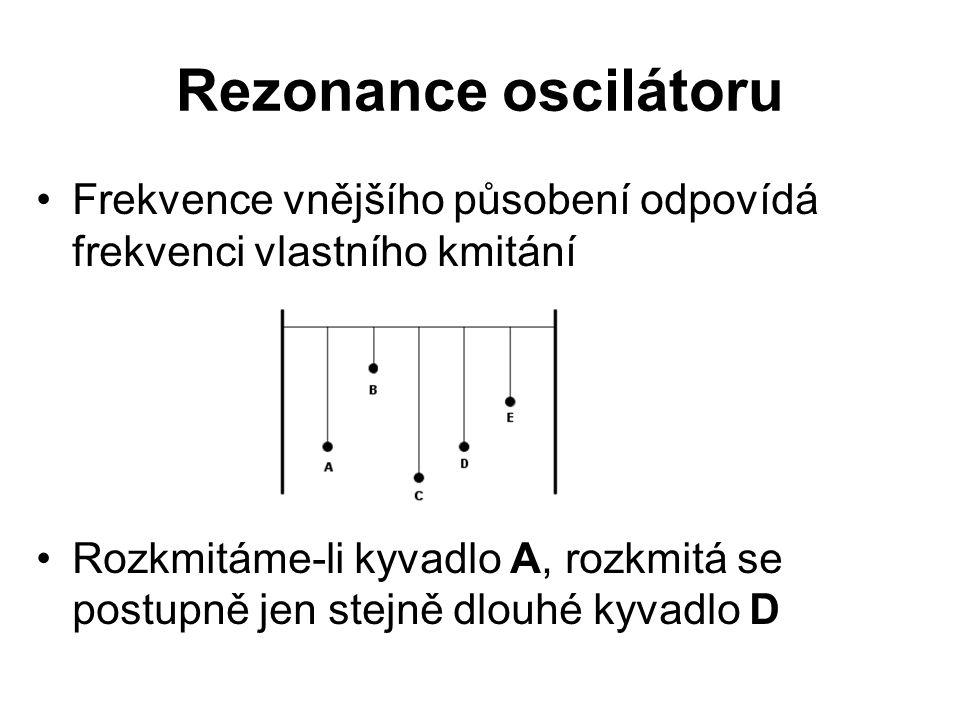 Rezonance oscilátoru Frekvence vnějšího působení odpovídá frekvenci vlastního kmitání.