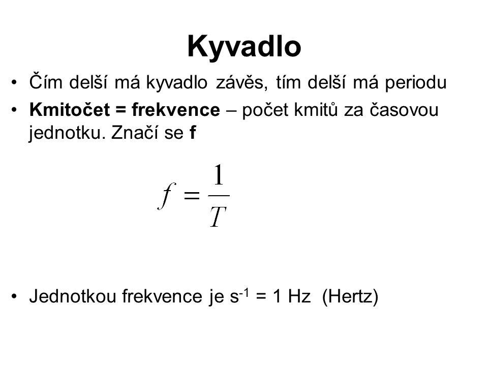 Kyvadlo Čím delší má kyvadlo závěs, tím delší má periodu
