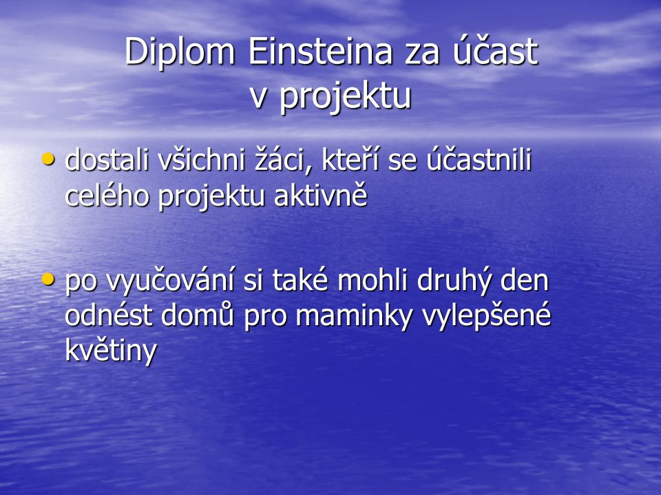 Diplom Einsteina za účast v projektu