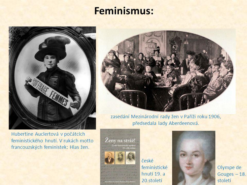 Feminismus: zasedání Mezinárodní rady žen v Paříži roku 1906, předsedala lady Aberdeenová.
