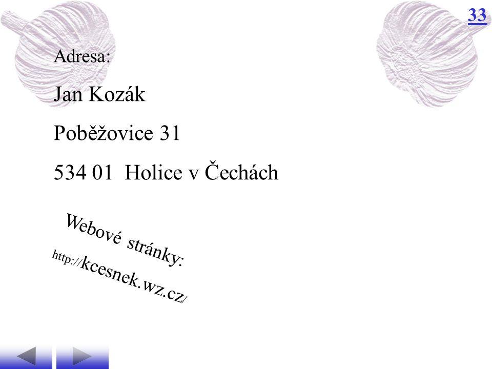 Jan Kozák Poběžovice 31 534 01 Holice v Čechách Adresa: