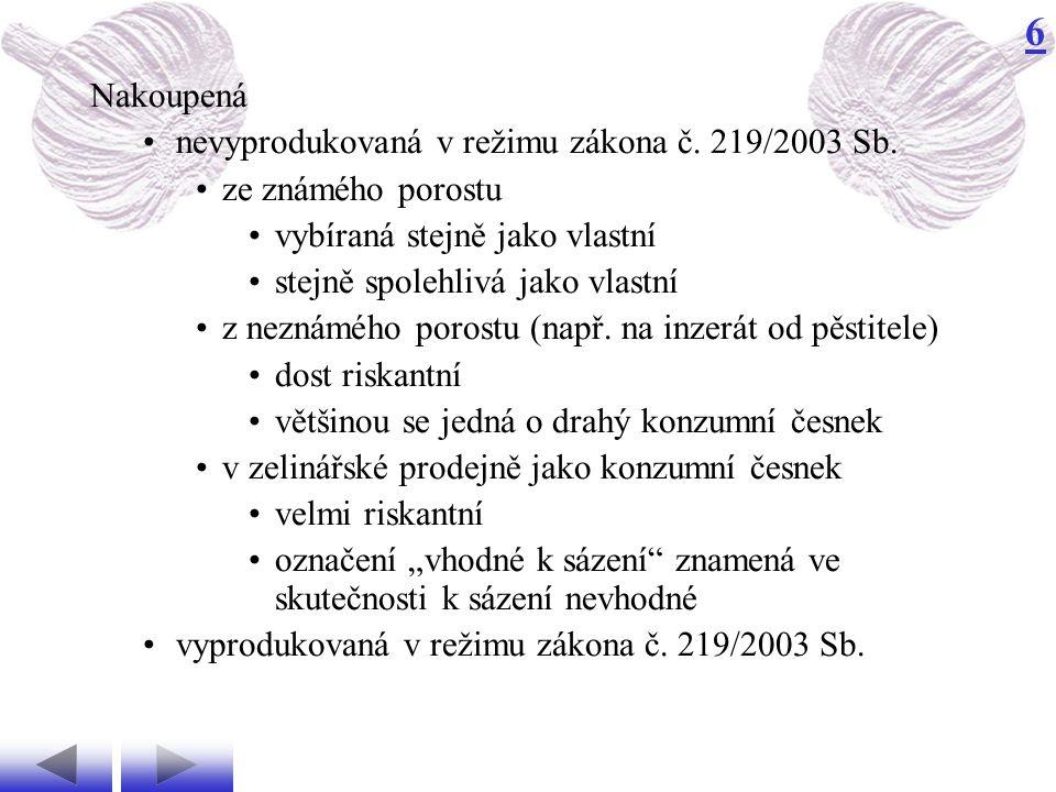 Nakoupená nevyprodukovaná v režimu zákona č. 219/2003 Sb. ze známého porostu. vybíraná stejně jako vlastní.