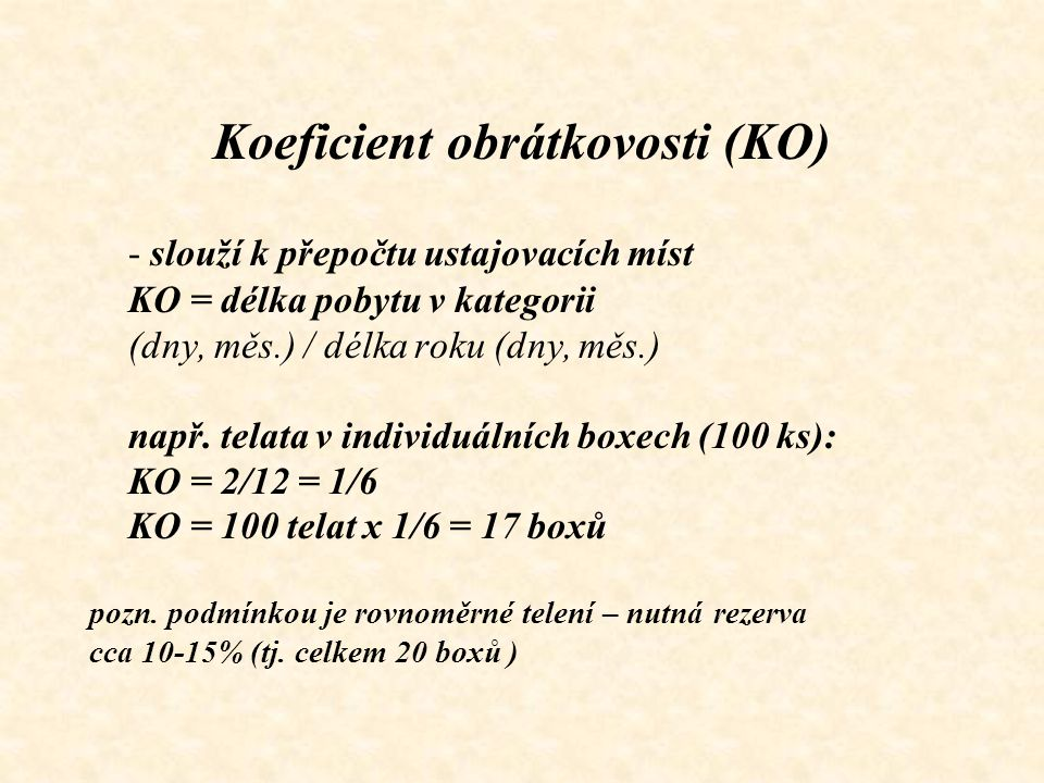 Koeficient obrátkovosti (KO)