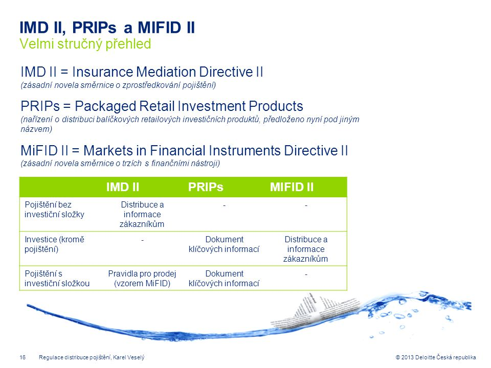 IMD II, PRIPs a MIFID II Velmi stručný přehled