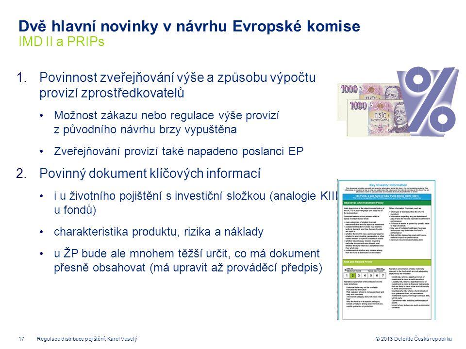 Dvě hlavní novinky v návrhu Evropské komise IMD II a PRIPs