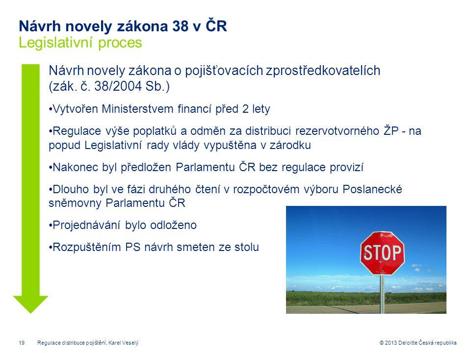Návrh novely zákona 38 v ČR Legislativní proces