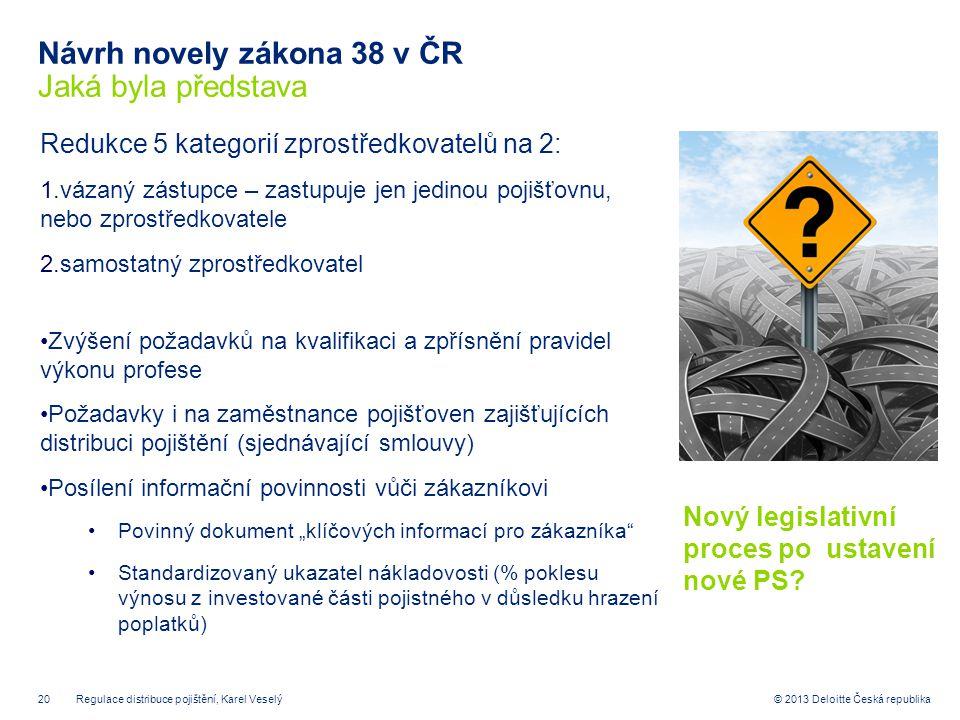 Návrh novely zákona 38 v ČR Jaká byla představa