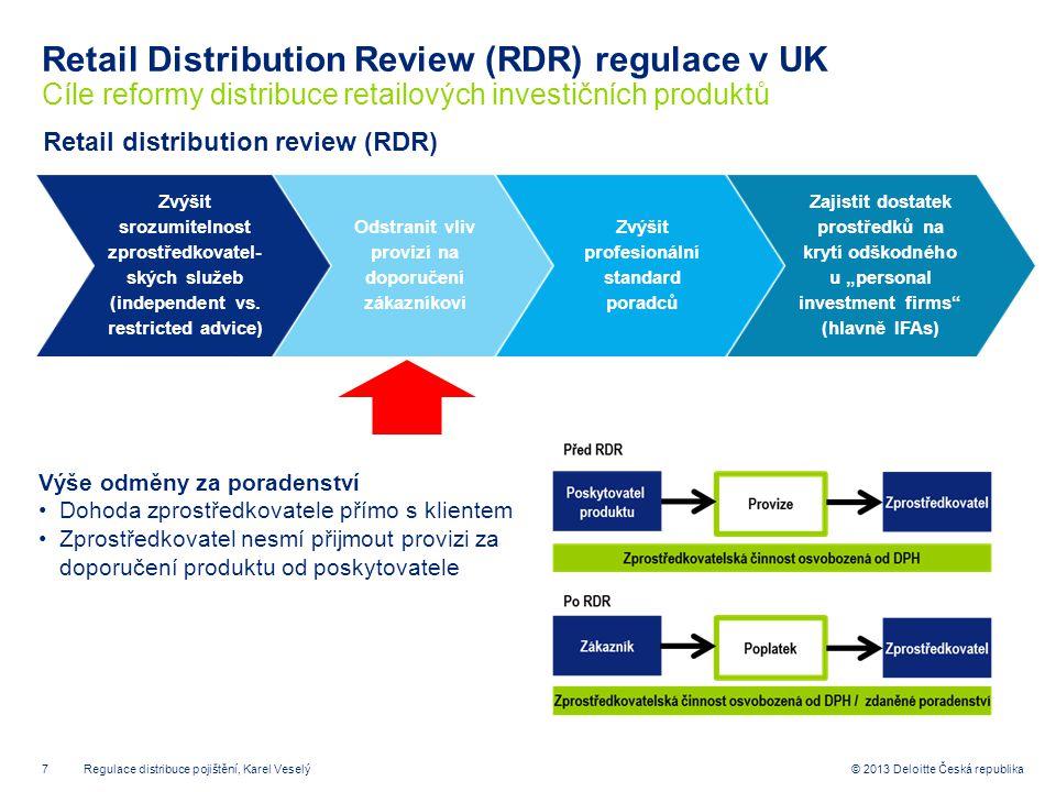 Retail Distribution Review (RDR) regulace v UK Cíle reformy distribuce retailových investičních produktů