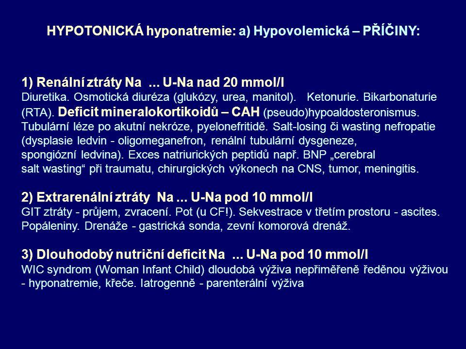 HYPOTONICKÁ hyponatremie: a) Hypovolemická – PŘÍČINY: