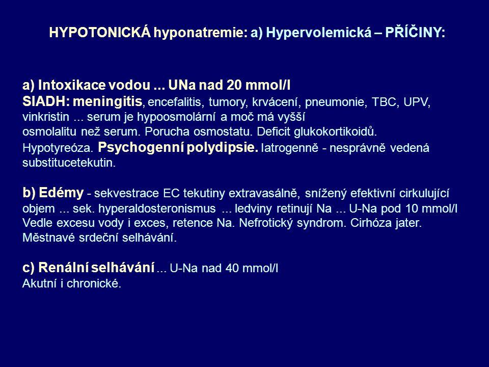 HYPOTONICKÁ hyponatremie: a) Hypervolemická – PŘÍČINY: