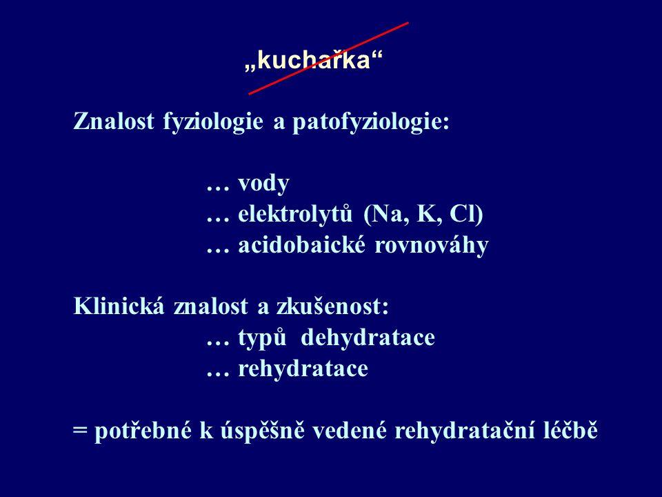 """kuchařka Znalost fyziologie a patofyziologie: … vody. … elektrolytů (Na, K, Cl) … acidobaické rovnováhy."