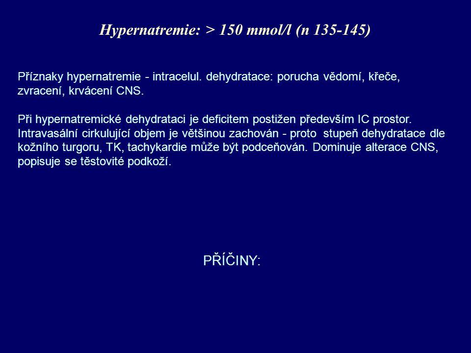 Hypernatremie: > 150 mmol/l (n 135-145)