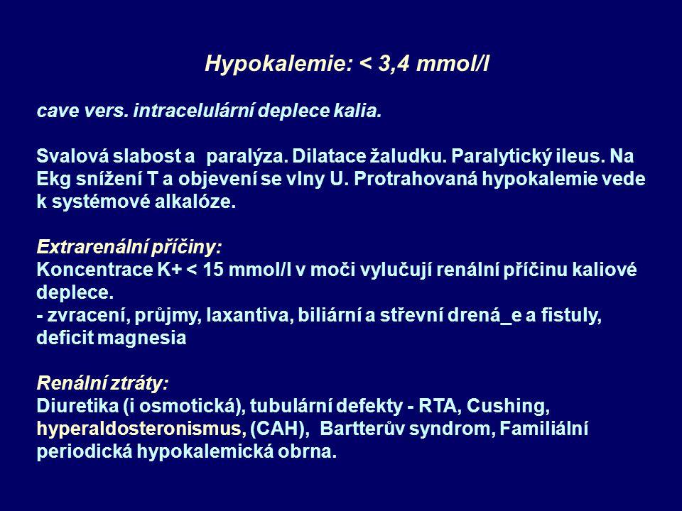 Hypokalemie: < 3,4 mmol/l