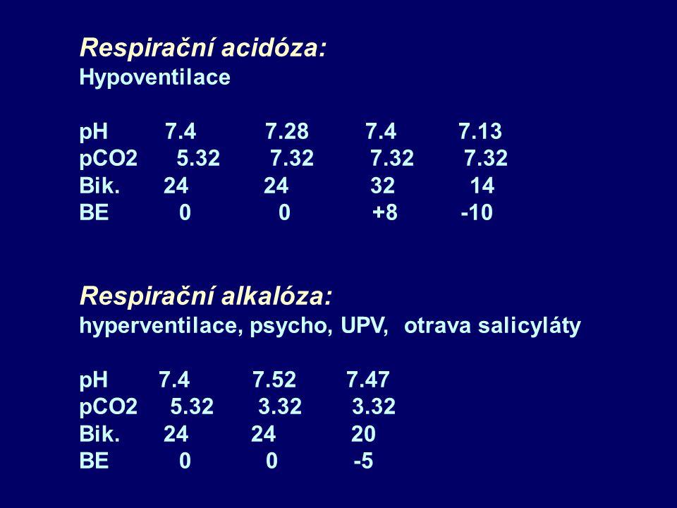 Respirační acidóza: Respirační alkalóza: Hypoventilace