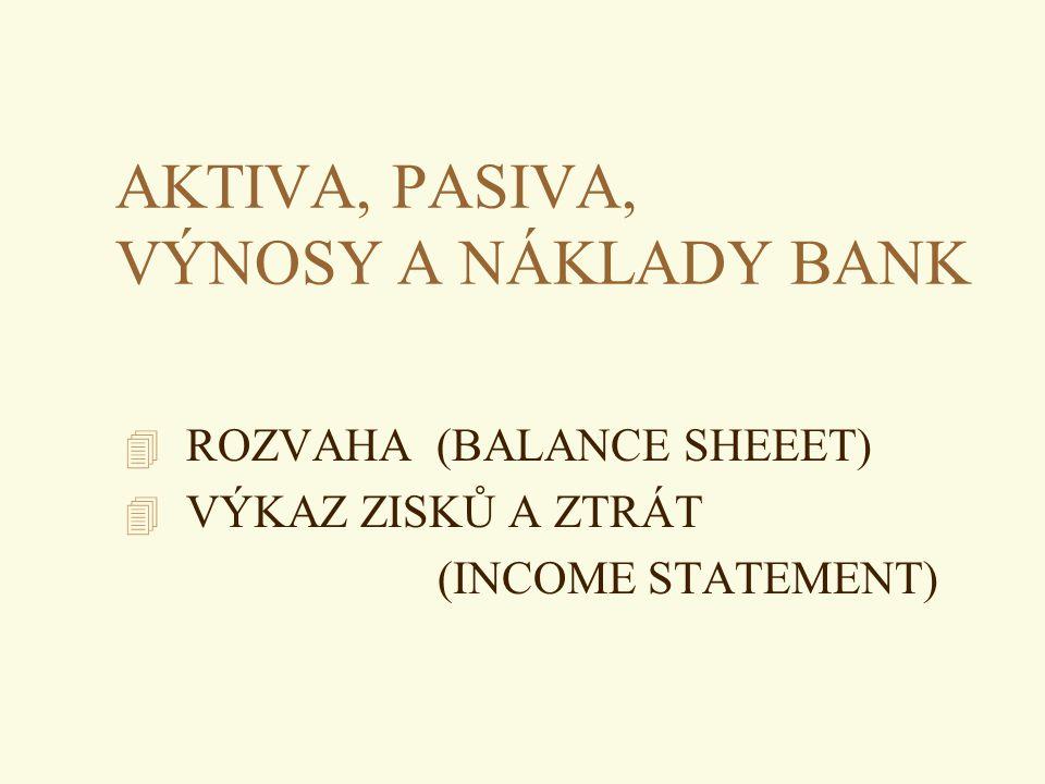 AKTIVA, PASIVA, VÝNOSY A NÁKLADY BANK