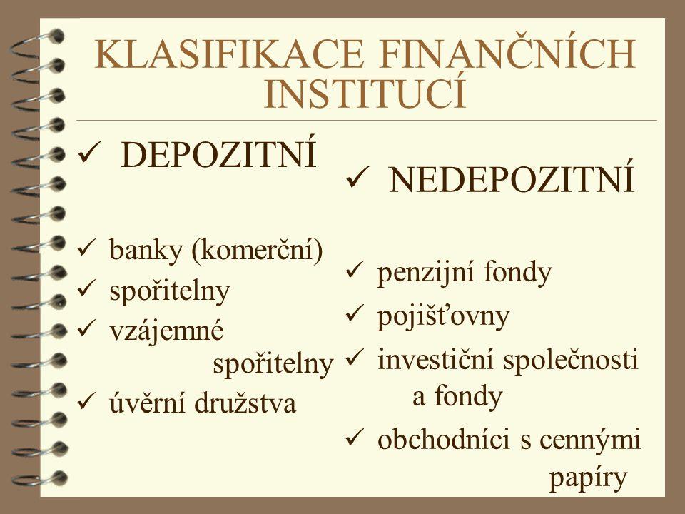 KLASIFIKACE FINANČNÍCH INSTITUCÍ