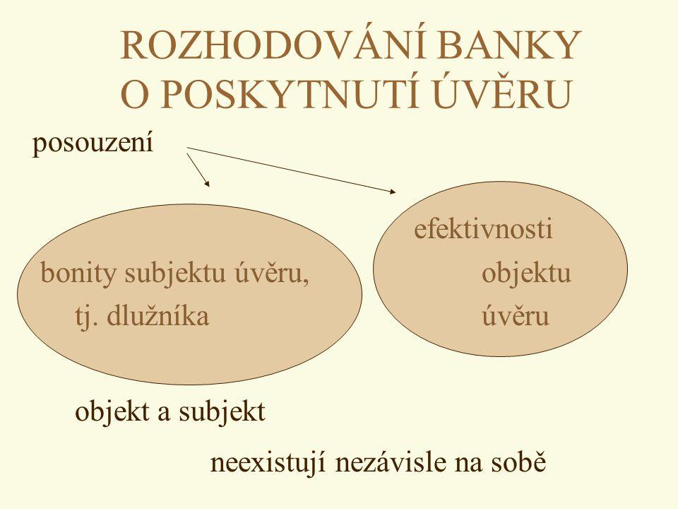 ROZHODOVÁNÍ BANKY O POSKYTNUTÍ ÚVĚRU