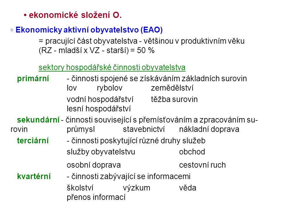 • ekonomické složení O. ◦ Ekonomicky aktivní obyvatelstvo (EAO)