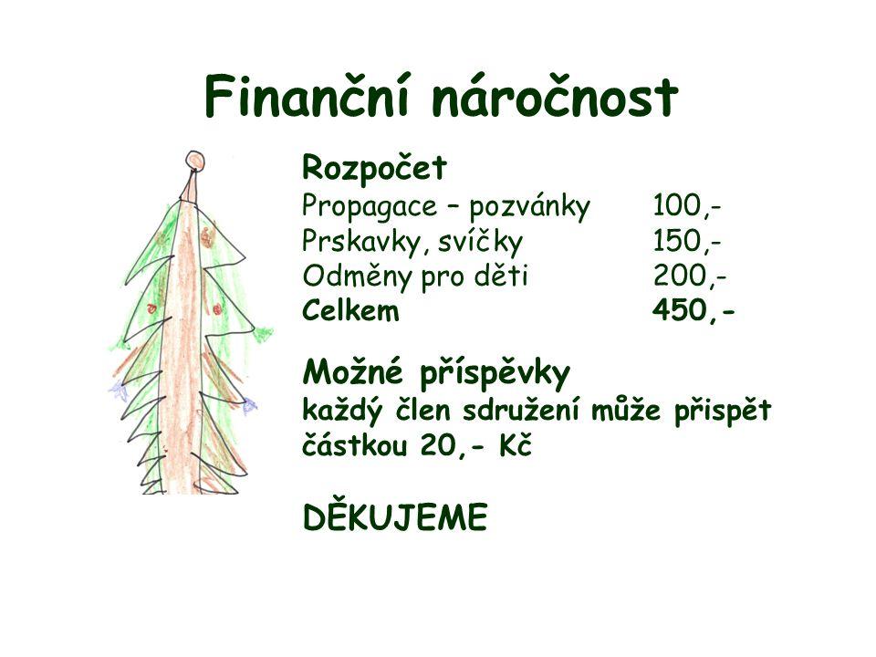 Finanční náročnost Rozpočet Možné příspěvky DĚKUJEME