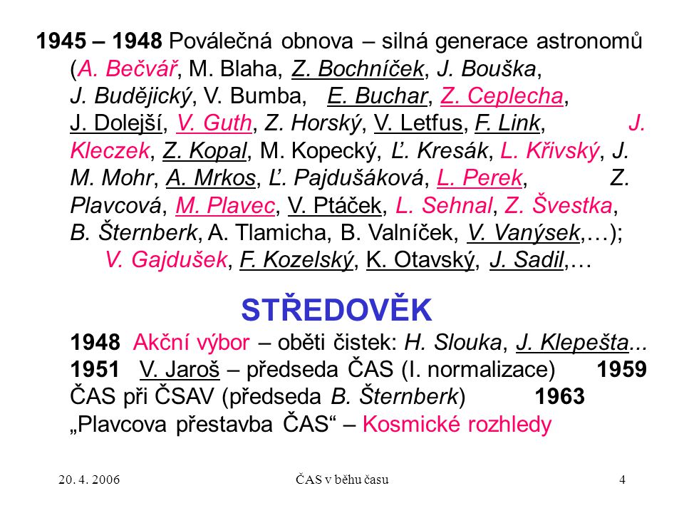 1945 – 1948 Poválečná obnova – silná generace astronomů (A. Bečvář, M