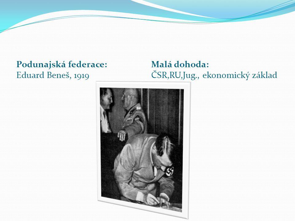 Podunajská federace: Eduard Beneš, 1919 Malá dohoda: ČSR,RU,Jug., ekonomický základ
