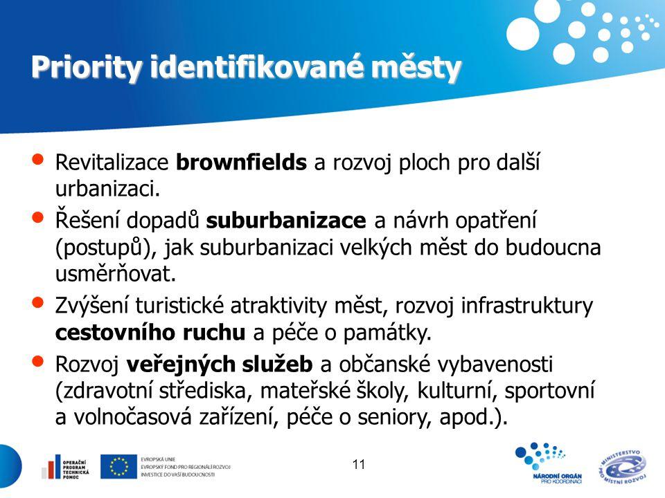 Priority identifikované městy