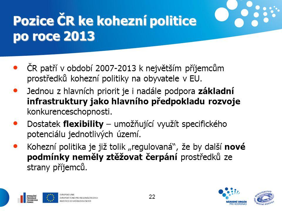 Pozice ČR ke kohezní politice po roce 2013