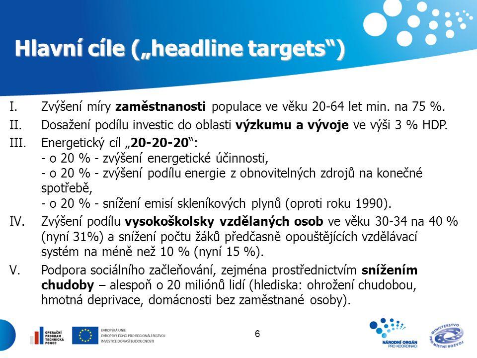 """Hlavní cíle (""""headline targets )"""