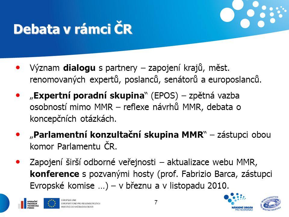 Debata v rámci ČR Význam dialogu s partnery – zapojení krajů, měst. renomovaných expertů, poslanců, senátorů a europoslanců.