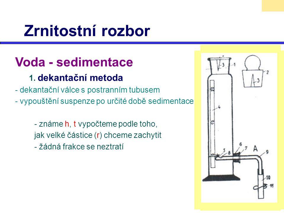 Zrnitostní rozbor Voda - sedimentace 1. dekantační metoda