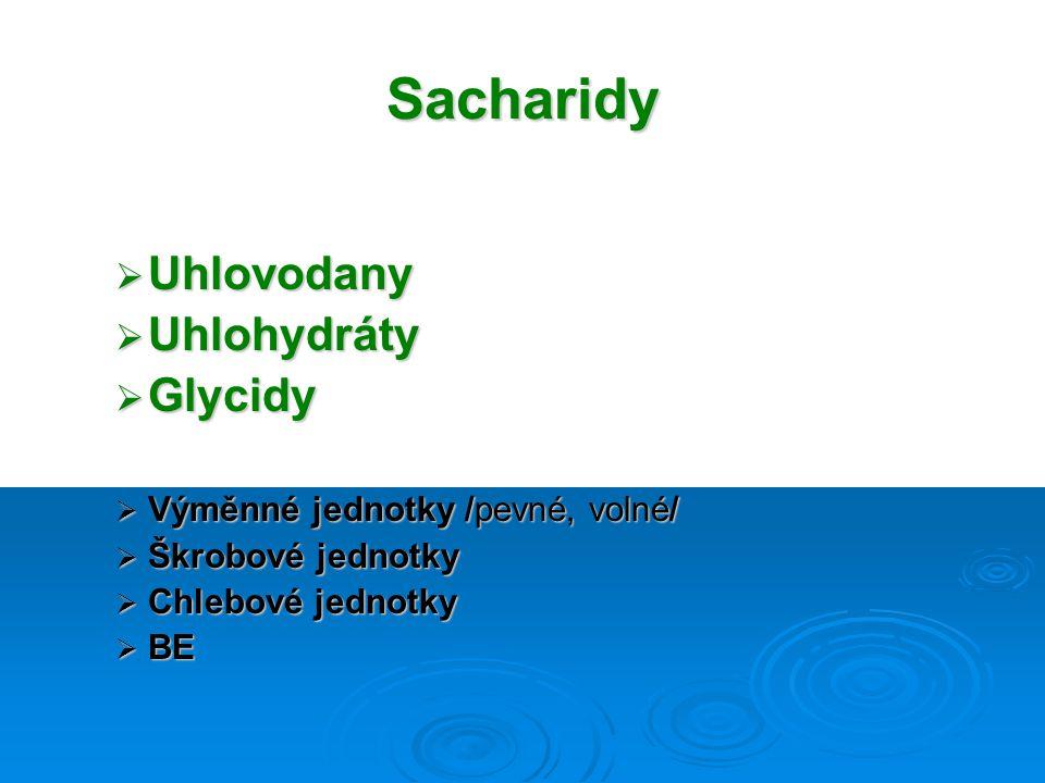 Sacharidy Uhlovodany Uhlohydráty Glycidy
