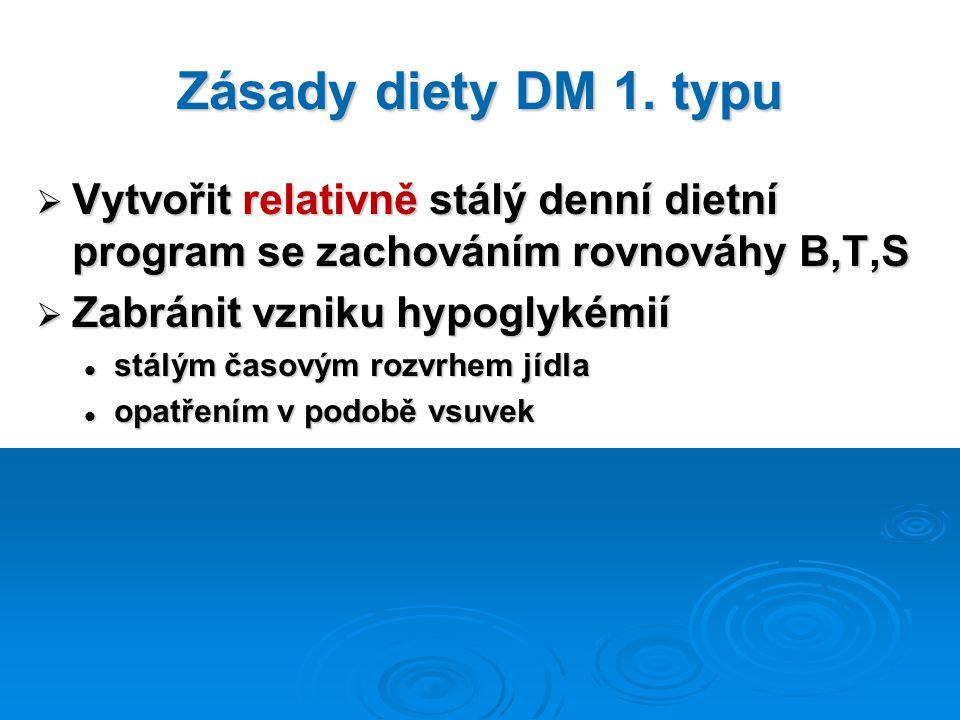 Zásady diety DM 1. typu Vytvořit relativně stálý denní dietní program se zachováním rovnováhy B,T,S.