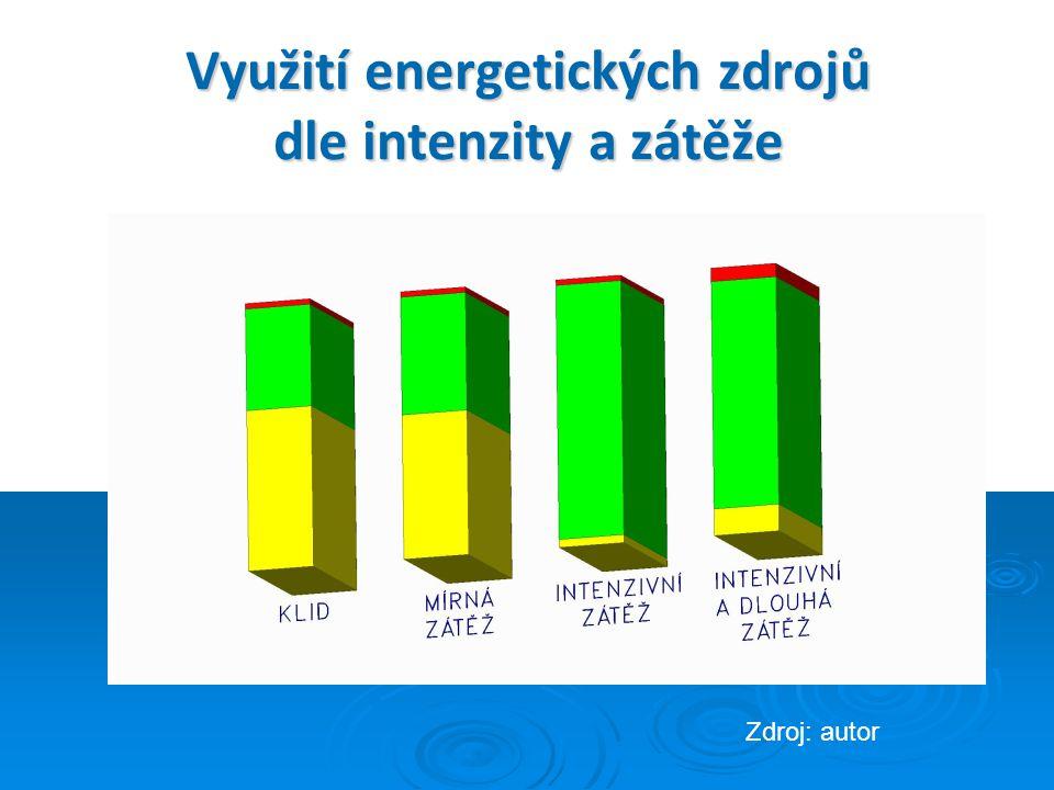 Využití energetických zdrojů dle intenzity a zátěže