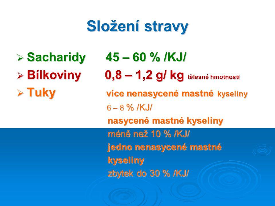 Složení stravy Sacharidy 45 – 60 % /KJ/