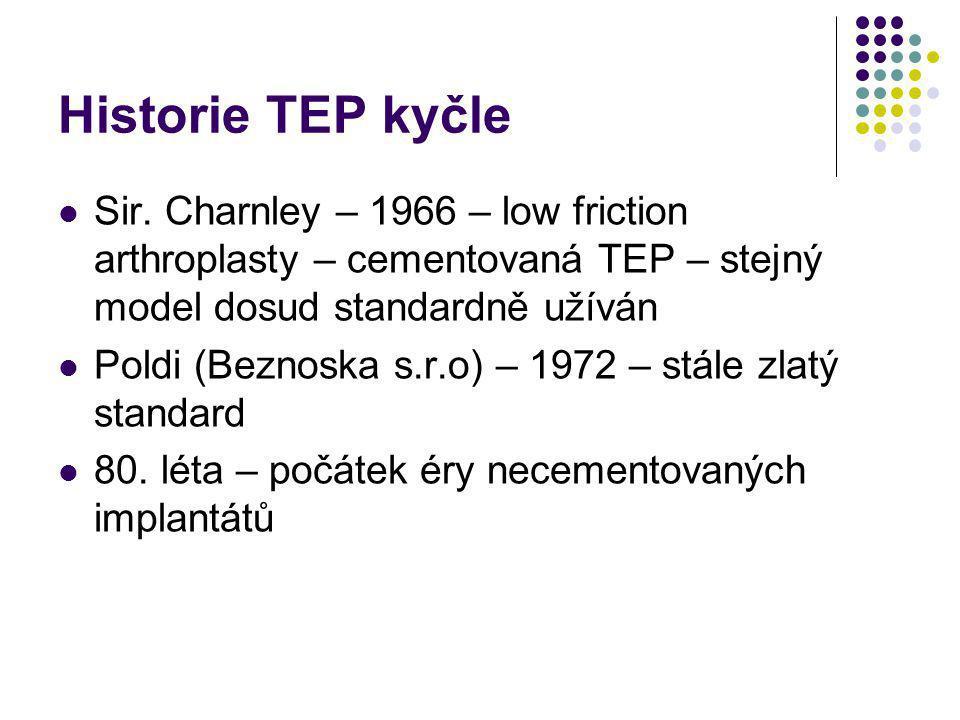 Historie TEP kyčle Sir. Charnley – 1966 – low friction arthroplasty – cementovaná TEP – stejný model dosud standardně užíván.