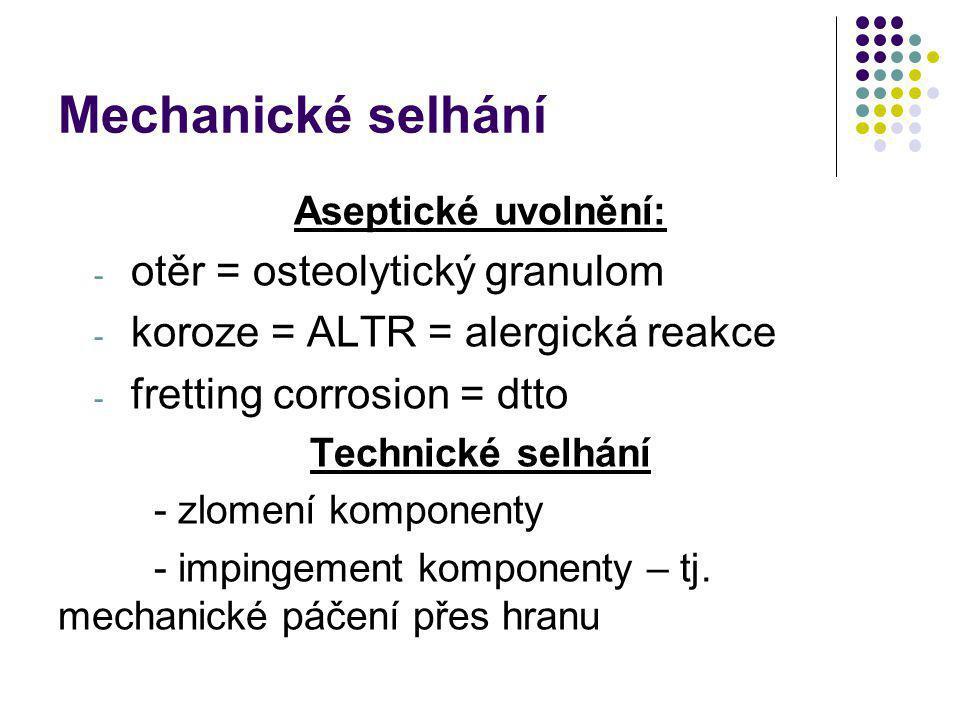 Mechanické selhání otěr = osteolytický granulom