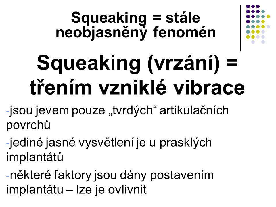 Squeaking (vrzání) = třením vzniklé vibrace