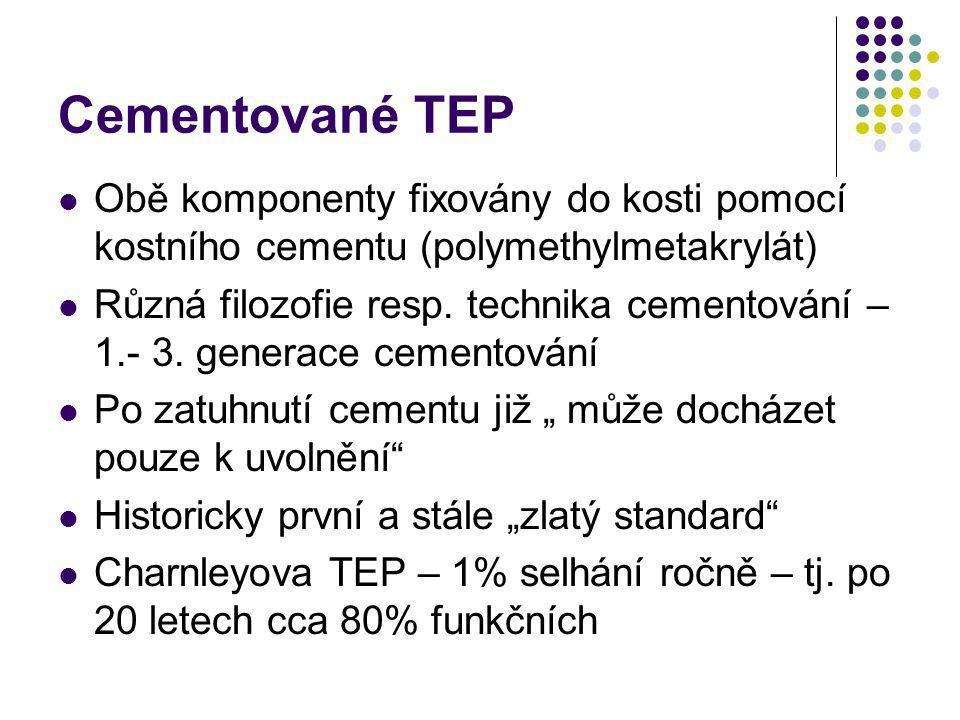 Cementované TEP Obě komponenty fixovány do kosti pomocí kostního cementu (polymethylmetakrylát)