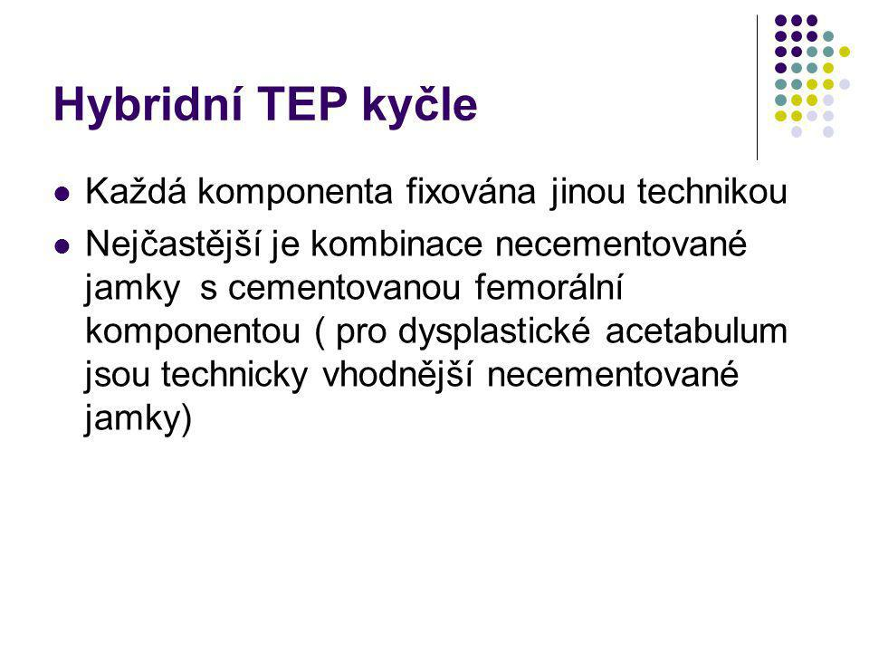 Hybridní TEP kyčle Každá komponenta fixována jinou technikou