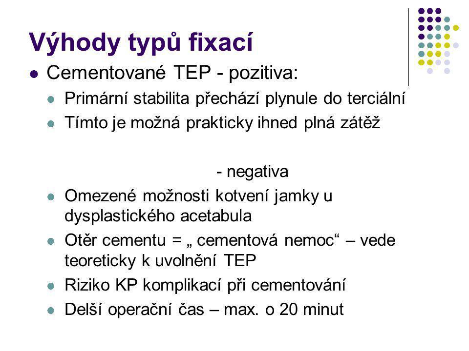 Výhody typů fixací Cementované TEP - pozitiva: