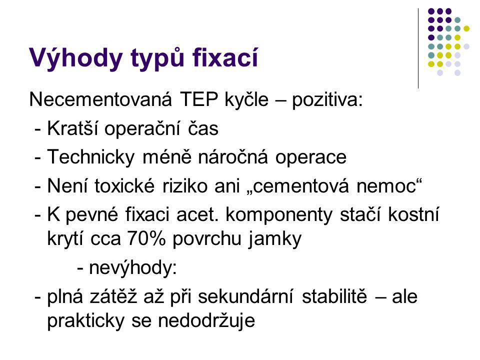 Výhody typů fixací Necementovaná TEP kyčle – pozitiva: