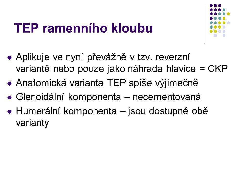 TEP ramenního kloubu Aplikuje ve nyní převážně v tzv. reverzní variantě nebo pouze jako náhrada hlavice = CKP.